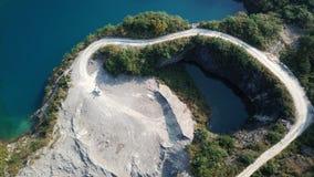 Vogel-Ansicht des natürlichen Bergwerk-Parks, wie ein Herz Stockfotografie