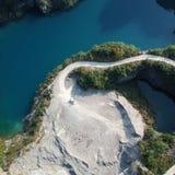 Vogel-Ansicht des natürlichen Bergwerk-Parks, wie ein Herz Stockfoto