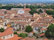Vogel-Ansicht von Lucca in Italien Lizenzfreies Stockfoto