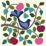 Vogel in appelboom. vector illustratie