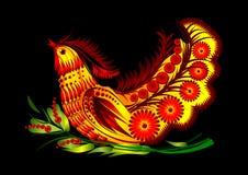 Vogel auf dekorativen Blumen eps10 Lizenzfreies Stockfoto