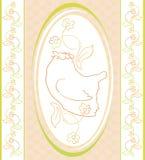 Vogel auf dem Blumenhintergrund im ovalen Rahmen Lizenzfreies Stockbild