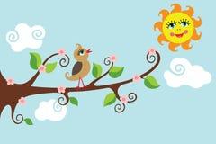 Vogel auf einer Niederlassung. Sonniger Tag. Vektorkarikatur