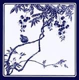 Vogel auf Niederlassung, Monochrom der chinesischen Art Stockbilder