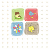 Vogel, bloem, blad, paddestoel. Vector illustratie Stock Afbeelding