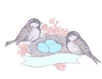 Vogel, bloemen, nest, eieren en banner Stock Foto