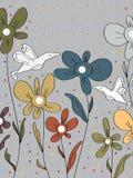 Vogel-Blumen Dots Card Lizenzfreie Stockfotografie