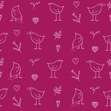 Vogel-, Blumen- und Herzmuster Stockbilder