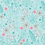 Vogel-Blumen zeichnen abgehobenen Betrag nahtloses Pattern.eps Lizenzfreie Stockfotos