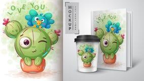 Vogel, cactus - model voor uw idee royalty-vrije illustratie