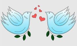 Vogel de duif Duifsymbool van vrede De vogels van de liefde en een boom stock illustratie