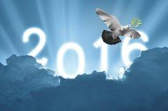 Vogel in de lucht op hemel 2016 achtergrond, al concept, schoonheid Stock Afbeelding