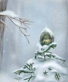 Vogel in de sneeuw vector illustratie