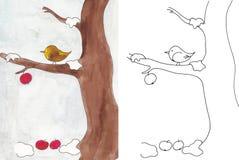 Vogel in de winter royalty-vrije illustratie