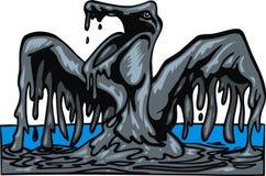 Vogel in de zwarte olie Royalty-vrije Stock Foto