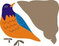 Vogel der blauen Orange und der Brown-Seite stockfotos