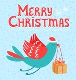Vogel der frohen Weihnachten Lizenzfreies Stockbild