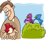 Vogel in der Handkarikatur Stockfotos