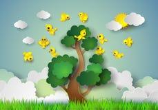 Vogel die rond een boom vliegen royalty-vrije illustratie