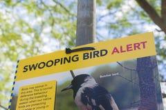 Vogel die waarschuwingsbord stoten Stock Foto