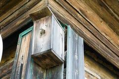 Vogel in een houten vogelhuis Royalty-vrije Stock Afbeelding