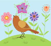 Vogel in een Tuin Stock Foto's