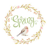 Vogel in einem Kreisrahmen der Niederlassungen, Blumen und Aufschriften entspringen stock abbildung