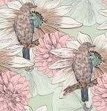 Vogel en bloem royalty-vrije illustratie