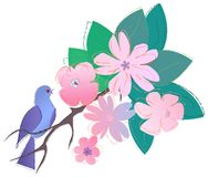 Vogel en bloemen vector illustratie