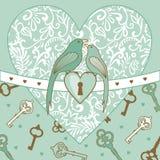 Vogel-en-hart vector illustratie