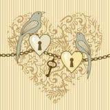 Vogel-en-hart stock illustratie