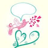 Vogel en hartdecoratie Stock Afbeelding