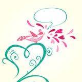 Vogel en hartdecoratie Stock Afbeeldingen