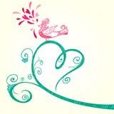 Vogel en hartdecoratie Royalty-vrije Stock Afbeelding
