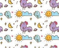 Vogel en kippen het zingen op de ochtend naadloze achtergrond vector illustratie