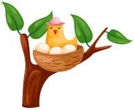 Vogel en nest royalty-vrije illustratie