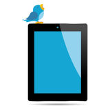 Vogel en tablet stock illustratie