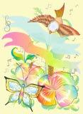 Vogel en vlinder met de verbeeldingsontwerp van de bloemaard contemp Stock Foto