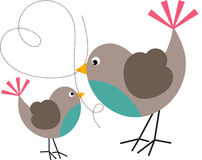 Vogel en Vogeltje Royalty-vrije Stock Fotografie