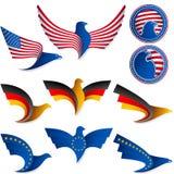 Vogel-Fliegen-Flaggen-Zeichen-Symbol-Insignien-Medaille Vereinigte Staaten Deutschland Stockbilder