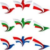 Vogel-Fliegen-Flaggen-Zeichen-Symbol-Insignien Polen Bulgarien die Niederlande Stockbild