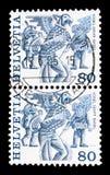 Vogel Gryff, Basileia, serie popular da alfândega, cerca de 1987 fotografia de stock royalty free