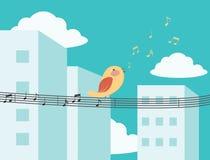 Vogel het zingen in de stad vector illustratie