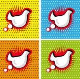 Vogel-Huhn-Sprache-Blase in den Knall-Kunst Arthintergründen eingestellt Stockbilder