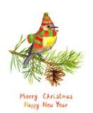 Vogel im Winterhut und -schal auf Weihnachtsbaum watercolor Stock Abbildung