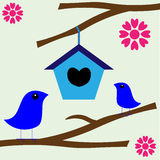 Vogel-Liebes-Nest-neues Haus Stockfoto