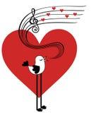 Vogel in liefde het zingen Stock Fotografie