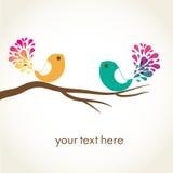 Vogel in liefde. Vector kaart Royalty-vrije Stock Afbeeldingen