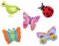 Vogel, lieveheersbeestje en vlinders Royalty-vrije Stock Foto's