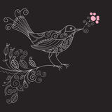 Vogel met bloemen Royalty-vrije Stock Afbeeldingen